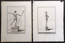 Lot Of 4 Male Nudes antique engravings Late 18th Century Italian