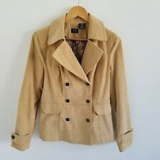 Nicole Miller Tan Corduroy Double Breasted Lined Blazer Jacket Womens Size 8
