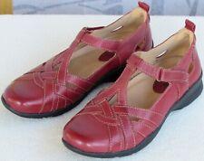 7 B | Earth Ocelot Women Red Leather Double T-Strap Mary Jane Flat Shoe