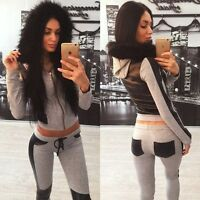 Fashion Women Tracksuit Hoodies Top Pant Sets Sport Wear Casual Suit  Collar