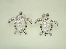 14mm Hawaiian Sterling Silver Petroglyph Honu Turtle Plumeria CZ Stud Earrings