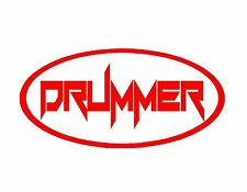 DRUMMER VINYL OVAL DECAL RED 4X9 MUSIC DRUMS STICKS CYMBALS PERCUSSION