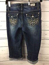 Capri Earl Jean Cropped Embellished Bling Pockets Jeans Size 0