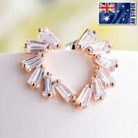 Super Stunning 18K Rose Gold GF Clear Crystal Stylish Stud Earrings Womens Gift