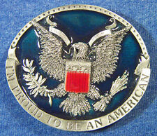 "American"" Eagle Usa Belt Buckle Bergamot H-132C Vintage 1981 ""I'M Proud To Be An"