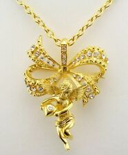 """Jackie  Kennedy Victorian Angel Pin/Pendant Necklace  Pin is 2 1/4"""" Neck 20"""""""