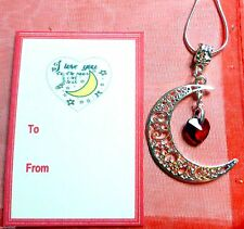 """""""I Love you to the Moon and Back"""" Moon Crystal Heart Necklace Tag Birthday Gift"""