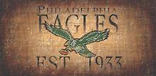"Philadelphia Eagles Retro Throwback Established 1933 Wood Sign Wall NEW 12"" x 6"""