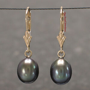 14k Solid Yellow Gold Leverback Raindrop Black Cultured Pearl Dangle Earring TPJ
