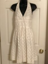 Trina Turk- Ivory Cotton Floral Embroidered Halter Fit & Flare Low-back Dress-6