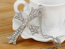 Fashion Silver Plated Cross Crystal Rhinestone Costume Pendant Necklace Jewelry