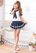 Cosplay School Girl Student Blue Uniform Costume Fancy Dress, Lingerie, S-M