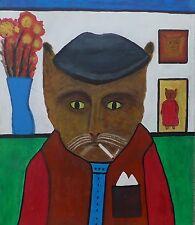 Arte MODERNA-naive pittura-Surrealismo-POP ART-GATTO-gatto