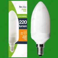 6x 5W Basse Energie CFL Ampoule Type Bougie, SES, E14, Petit Vis Edison Lampes