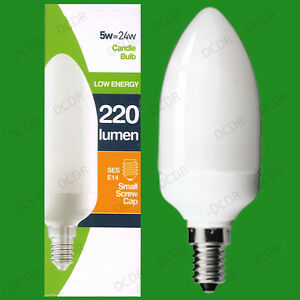 6x 5W Low Energy CFL Candle Light Bulbs, SES, E14, Small Edison Screw Lamps