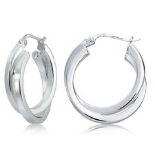 Sterling Silver Square-Tube Double Twisted 25mm Round Hoop Earrings