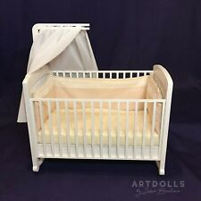 "OOAK Baby doll crib with canopy for 4-7"". Realistic doll bed"