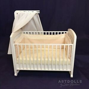 OOAK Baby doll crib with canopy for 4-7 inches. Realistic doll bed