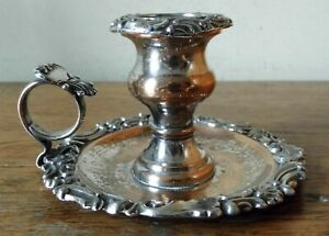 STUNNING LATE GEORGIAN ANTIQUE CHAMBERSTICK in OLD SHEFFIELD SILVER PLATE