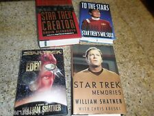 4 LOT HARDBACK STAR TREK BOOKS WILLIAM SHATNER ASHES EDEN & CREATOR & MEMORIES +
