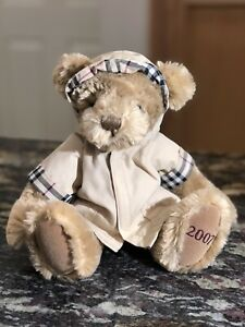 2007 Burberry Plush Beige Teddy Bear Nova Check Hooded Raincoat 11''