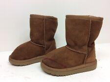 #12 Girls Toddler Ugg Australia Winter Suede Sheepskin Brown Boots Size 8
