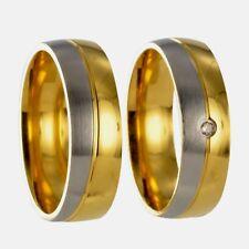 2 bicolor silber / gold Partnerringe Freundschaftsringe Eheringe + Gravur 40P138