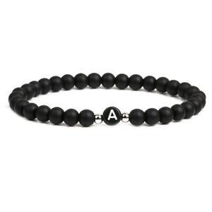 Smooth 6 MM Black Bead Lava Stone Initial Letter Bracelet For Men Women Girl UK