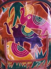 Pink Elephants Tooled  Leather Backpack 1996 SEARS NOS Purple Green Bookbag