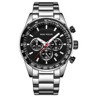 Men's Luxury Quartz Watches Chronograph Silver Stainless Steel Band Black Dial