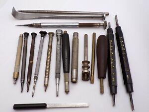 Lot Vintage Misc Watchmaker Hand Tools Screw Holder Winder Burnisher Lifter-NR