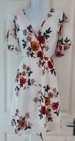 Womens Jeuvre Dress size large white flowers fit&flare summsr casual party vgc