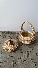 Vintage Hand Woven Basket W/ Lid Planter Fruit Storage Basket Rattan Boho