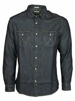 MENS WRANGLER WESTERN DENIM SHIRT REGULAR FIT W597307WE - DARK INDIGO RINSE