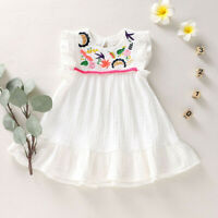 Newborn Baby Kid Girl Infant Sleeveless Embroidery Princess Dress Clothes