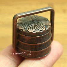 Dollhouse Miniature 1:12 Toy Metal Copper 3 Layer Food Snack Box H2.7cm Spo367