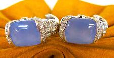 .25 cttw DIAMONDS 14k White Gold Calcite Stone Omega Ladies Earrings