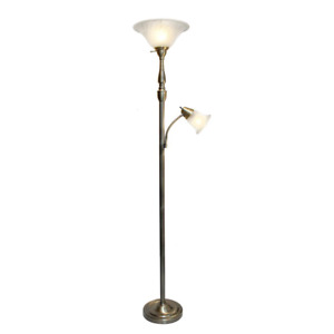 2-Light 71 in. Mother Daughter Floor-Standing Lamp with Marble Glass Shade