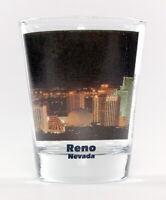 RENO NEVADA NIGHT CITY SKYLINE COLOR PHOTO SHOT GLASS SHOTGLASS