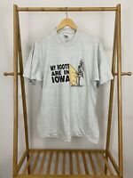 VTG My Roots Are In Iowa Single Stitch FOTL T-Shirt Size XL