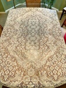 Vtg Off White Oval Floral Filet/Quaker Lace Table Cloth With No Tags 55 BY 70