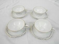 BAVARIA CHINA, CUPS AND SAUCERS, 4 SETS, WHITE. SCALLOPED EDGE, GOLD TRIM