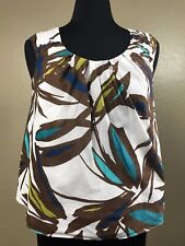NINE WEST WOMAN, Sleeveless Top, Size 10P Petite, White, Brown, and Blue