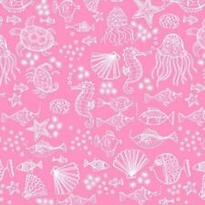 Merryn Tonal Pink Outline TP-2006-P  Cotton Quilt Fabric Mermaids by Andover BTY