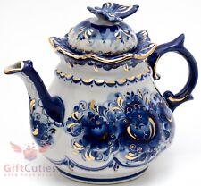 Porcelain Gzhel teapot coffee kettle w butterfly lid handmade in Russia 1 Liter