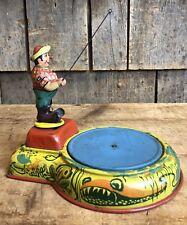 RARE Vintage B&S Blomer Schuler US Zone Germany Wind Up Tin Litho Fisherman Toy