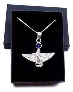 Iside Ciondolo Ametista Divinità Egiziano Cristallo 925 Argento 45.7cm Collana &