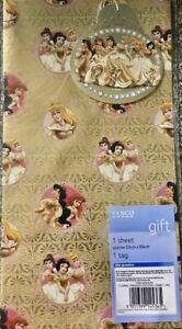 DISNEY princess Gold Wrapping Paper & Gift Tag 1 sheet & 1 tag, birthday, gift