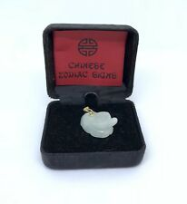 14K Yellow Chinese Zodiac Natural Jade Ox Pendant Hand Carved Must See