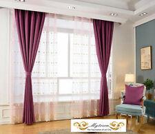 Quality Eyelet Top Linen Velvet 80% Blockout Curtains Dark Magenta Purple Violet